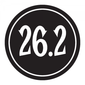 "26.2 Sticker – 2.5"" Circle (Black)-0"