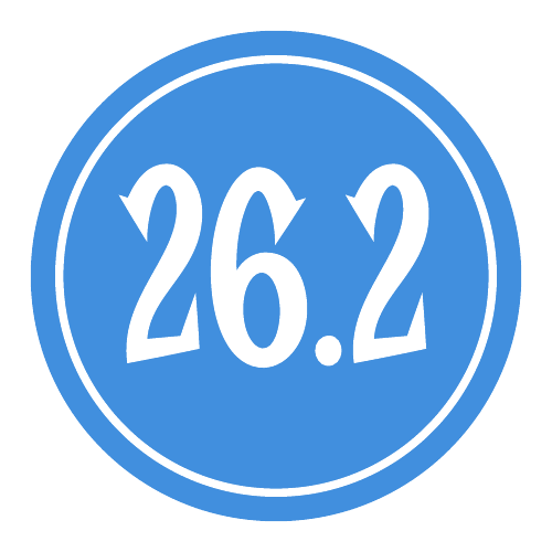 "26.2 Sticker – 2.5"" Circle (Blue)-0"