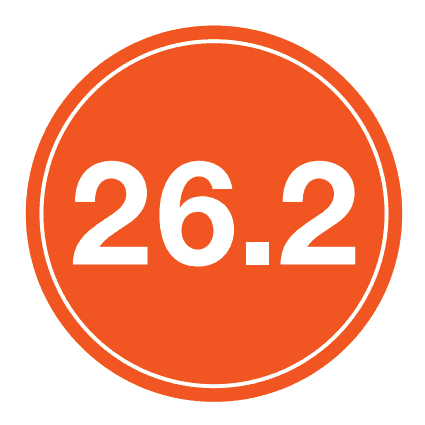 "26.2 Sticker – 4"" Circle (Orange)-0"