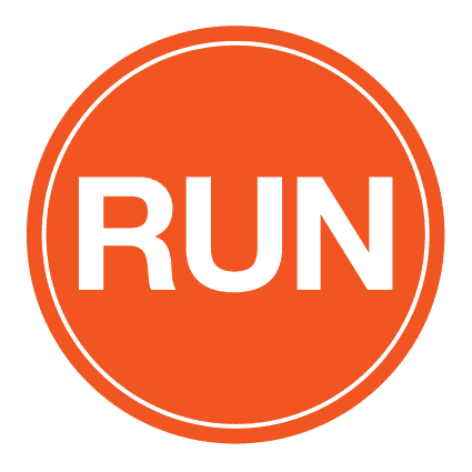 "RUN Sticker – 4"" Circle (Orange)-0"