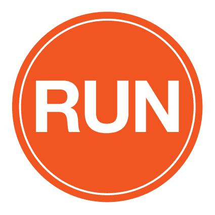 "RUN Sticker – 4"" Circle (Orange)-0"