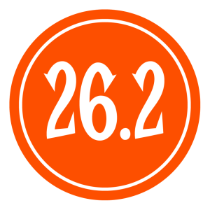 "26.2 Sticker – 2.5"" Circle (Orange)-0"
