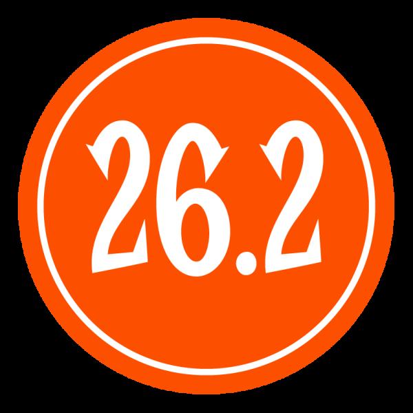 "26.2 Sticker – 2.5"" Circle (Orange)-0"