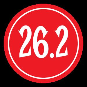 "26.2 Sticker – 2.5"" Circle (Red)-0"