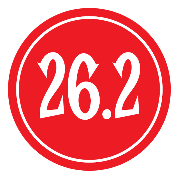"26.2 Sticker – 2.5"" Circle (Red)-701"
