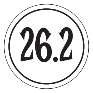 "26.2 Sticker – 2.5"" Circle (White)-0"