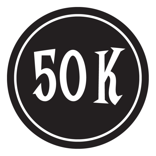"50K Sticker – 2.5"" Circle (Black)-0"