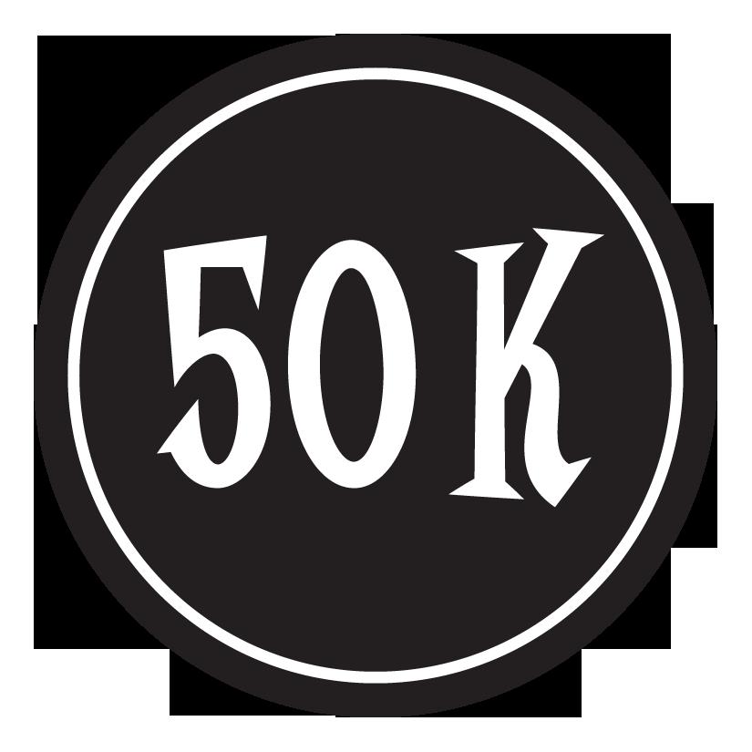 "50K Sticker – 2.5"" Circle (Black)-0"