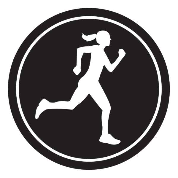 "Runner Girl Sticker – 2.5"" Circle (Black)-0"