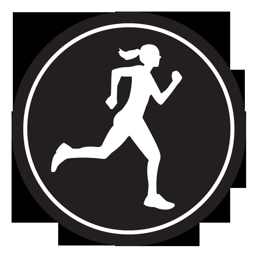 """Runner Girl Sticker – 2.5"""" Circle (Black)-0"""