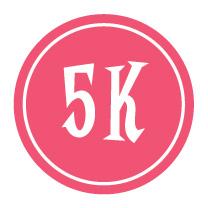 """5K Sticker – 2.5"""" Circle (Pink)-0"""